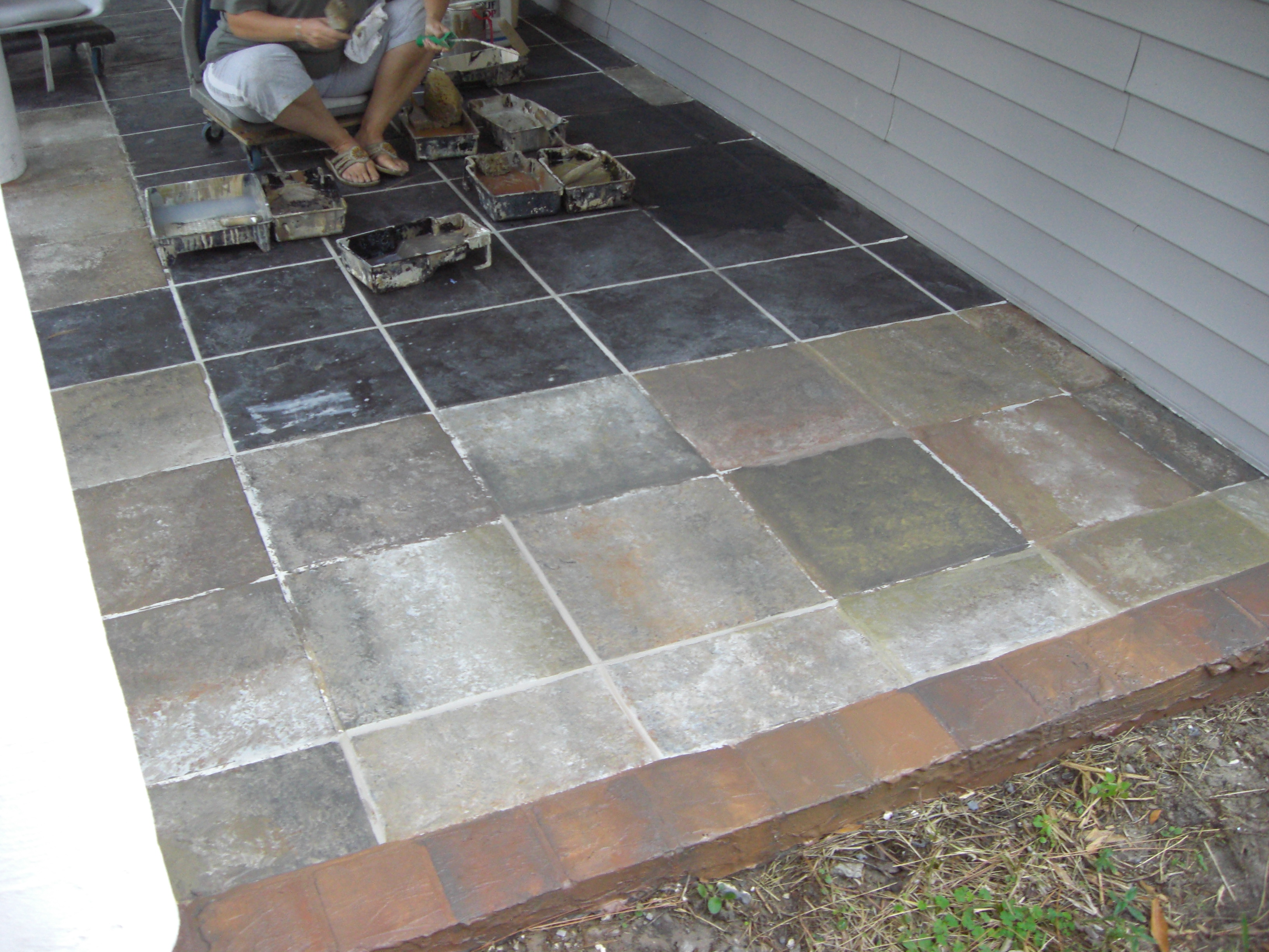 Lines Cracking Like Normal Tile This Slate Tile Patio Is A Strong As