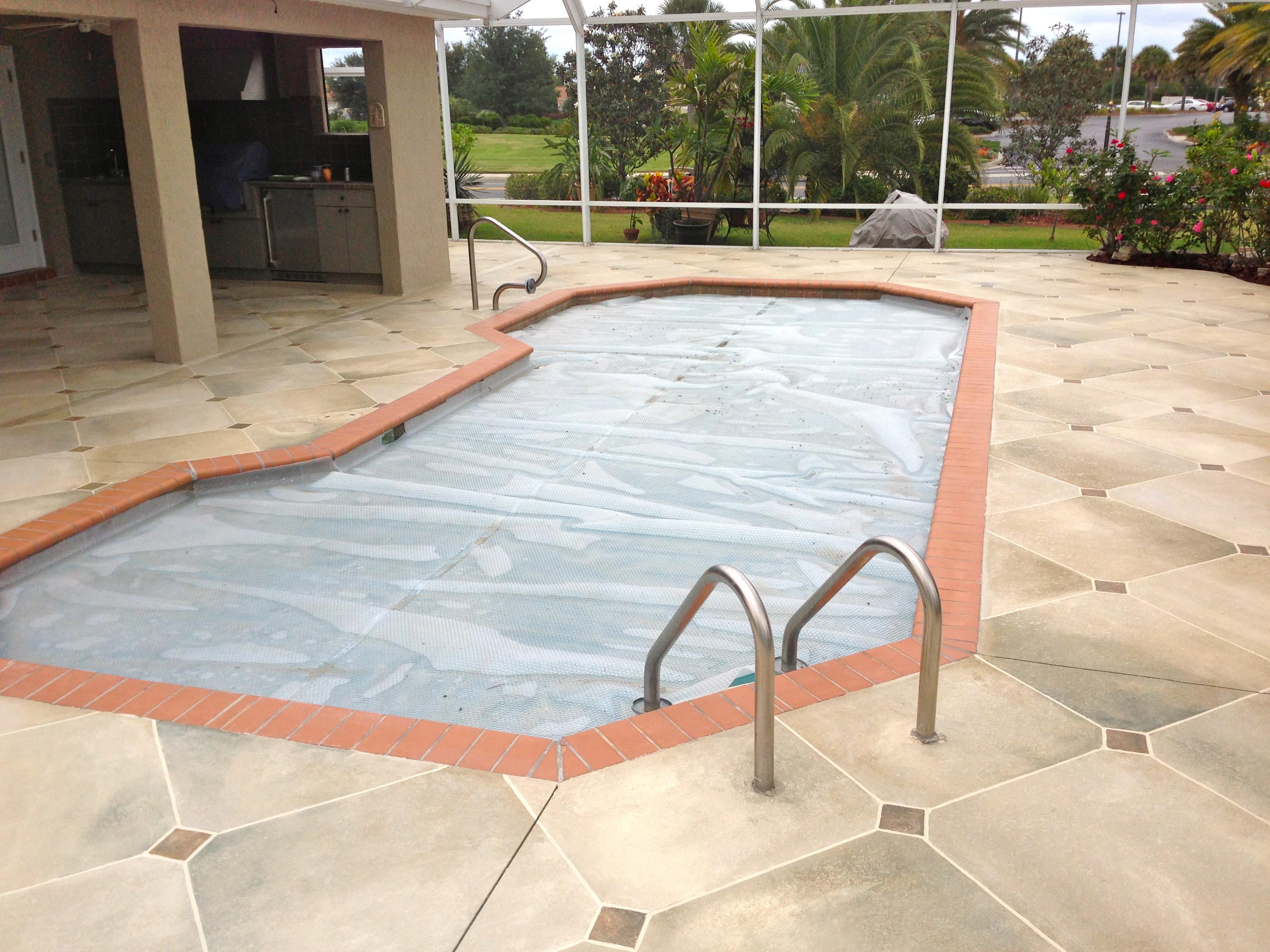 Travertine Tile Pool Concrete Designs Florida  Travertine Pool Deck