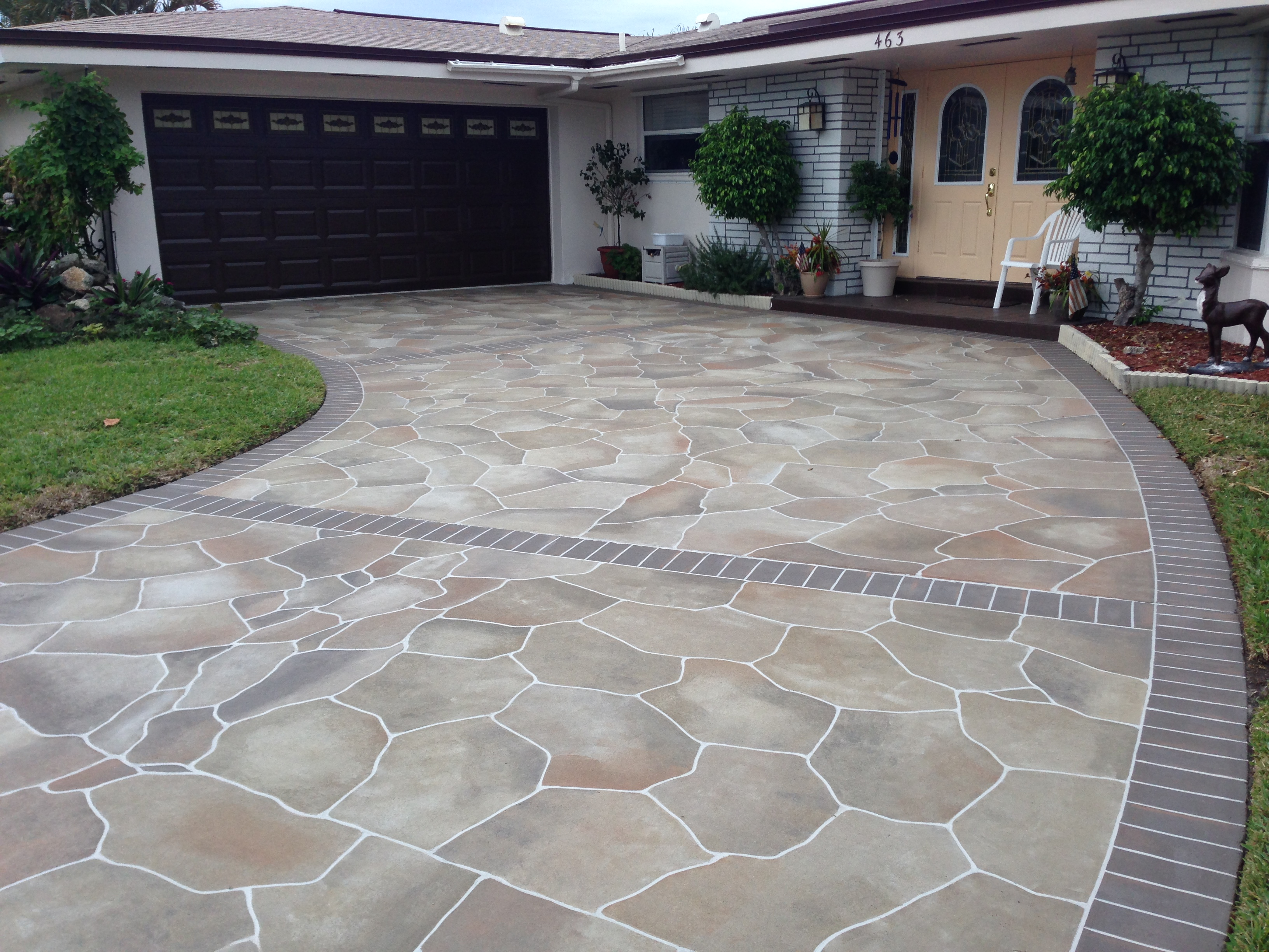 Concrete designs florida driveway staining for Different patio designs