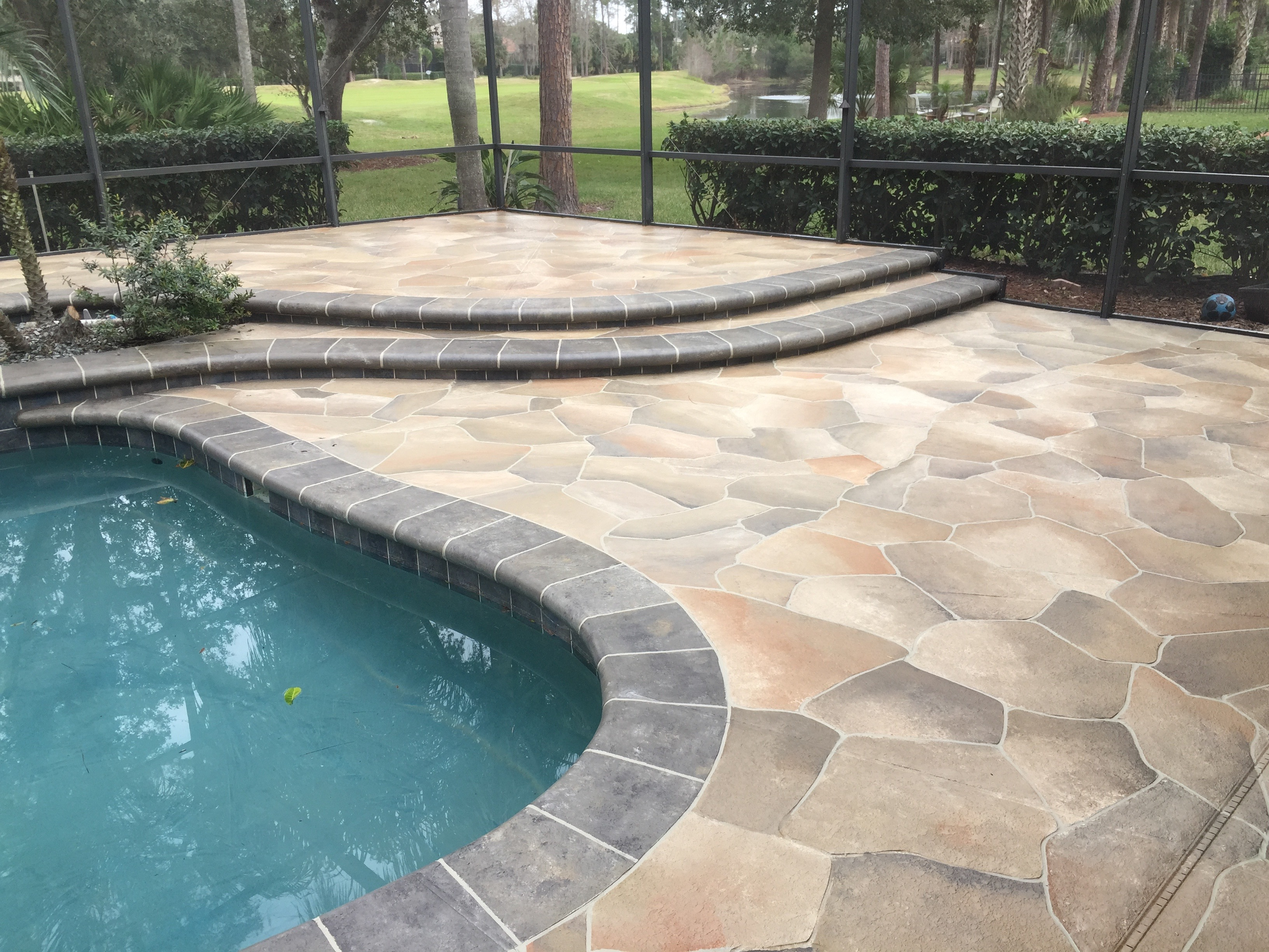 Concrete Designs Florida | Flagstone pool deck in Lake Mary