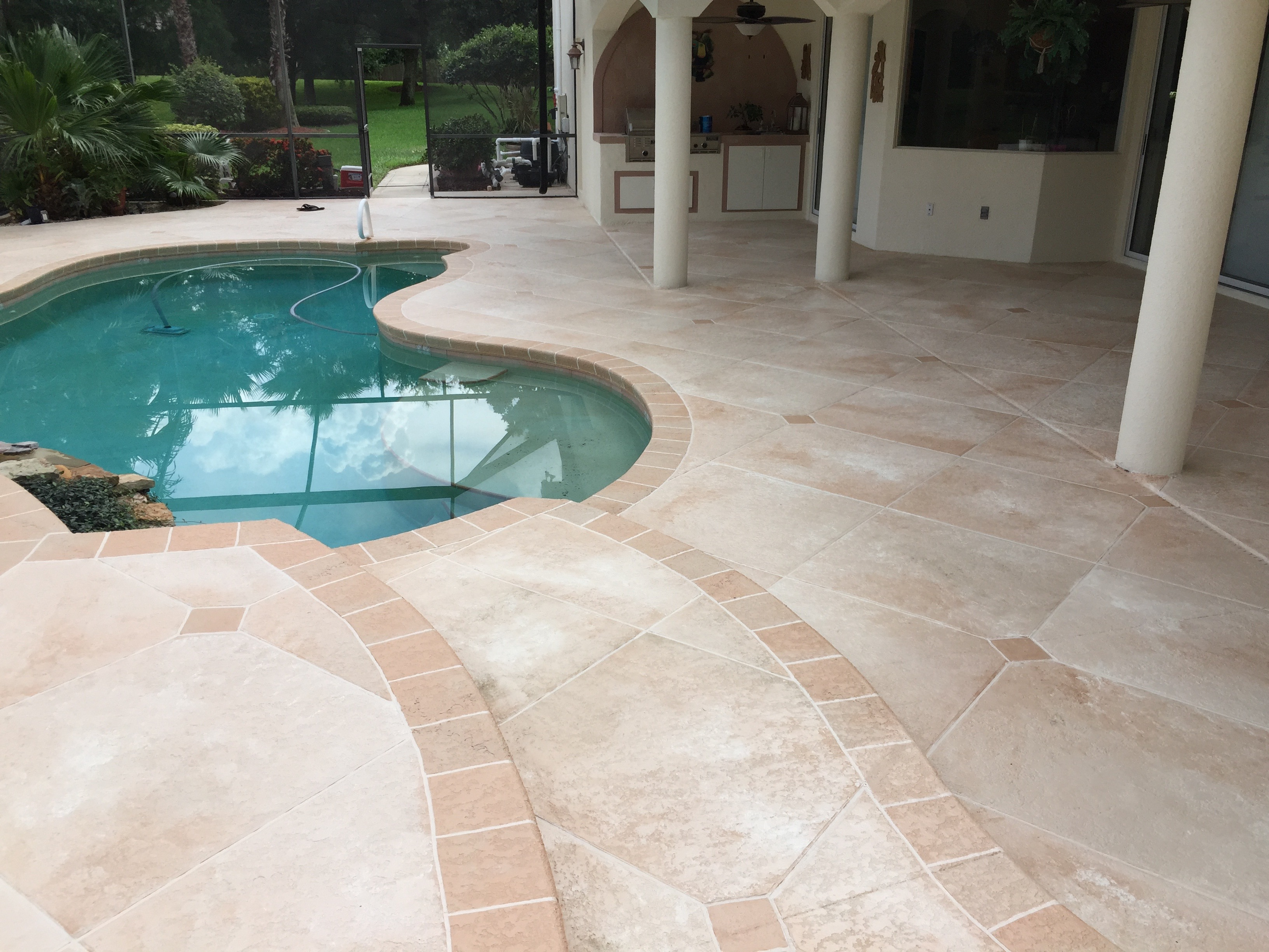 Travertine Pool Deck Concrete Designs Florida  Travertine Pool Deck Florida