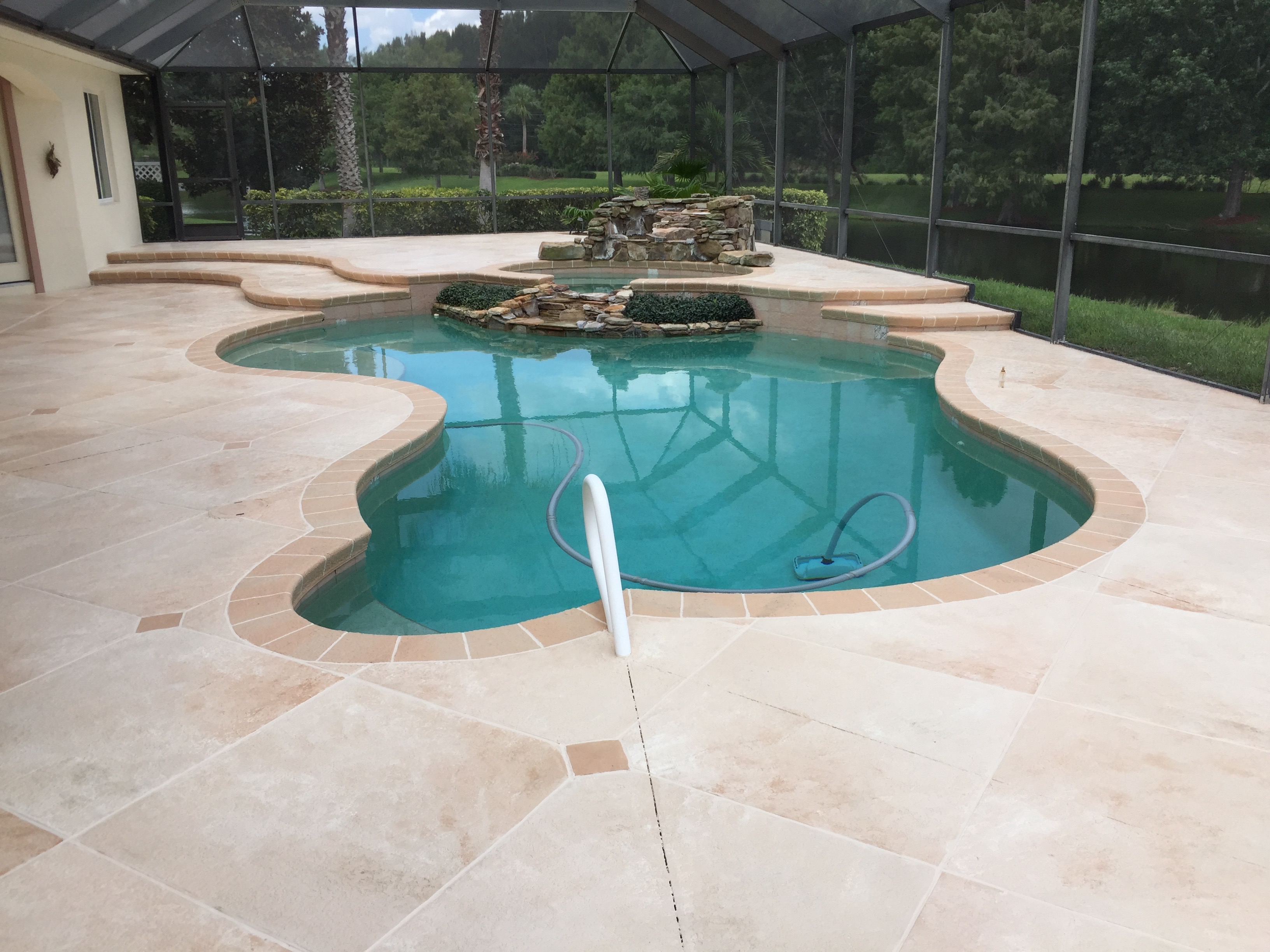 Amazing Look For This 2000 Square Foot Pool Deck Travertine Inspired Design With Complimentary Tile Around The Coping And Stairs Is Definitely